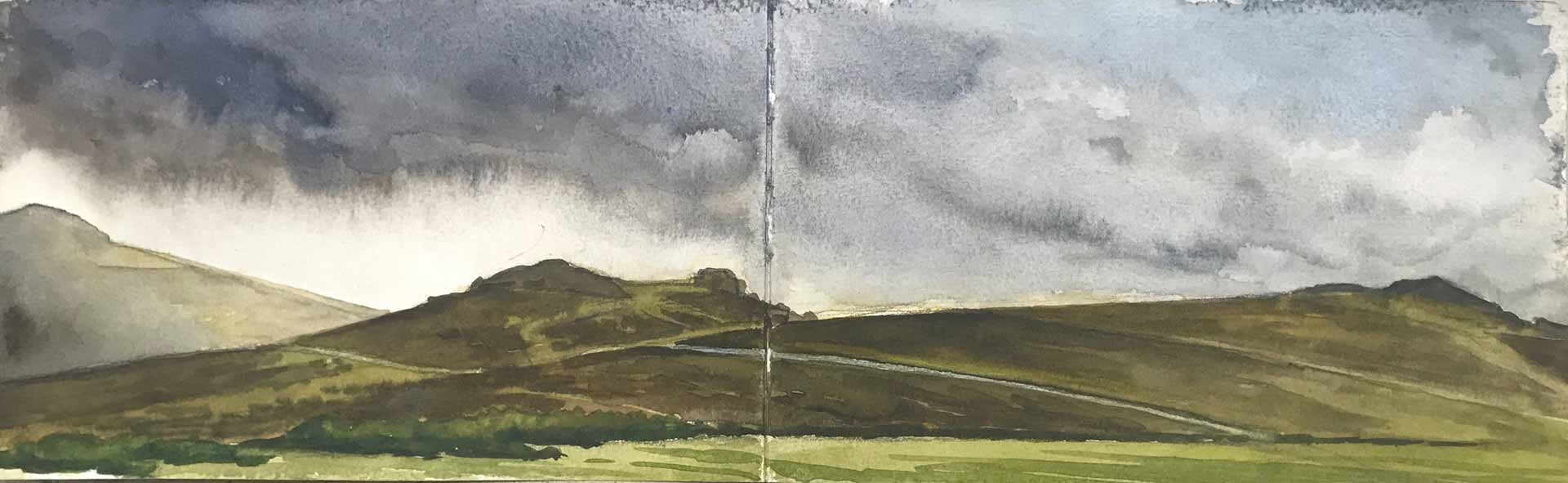Sketch Of Saddle Tor On Dartmoor. Landscape Painting by Victoria Orr Ewing