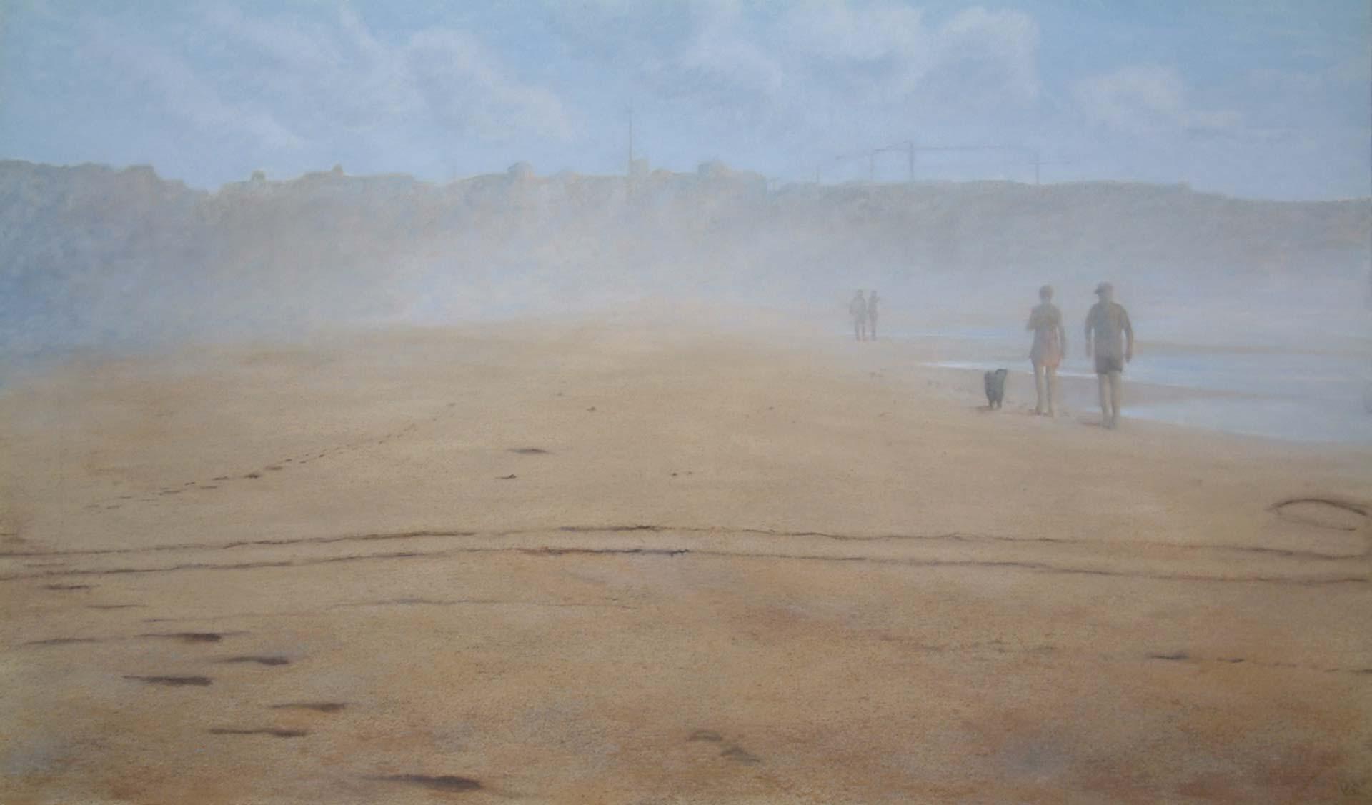 Tarifa Beach 3, Sea Mist. Landscape Oil Painting By Victoria Orr Ewing