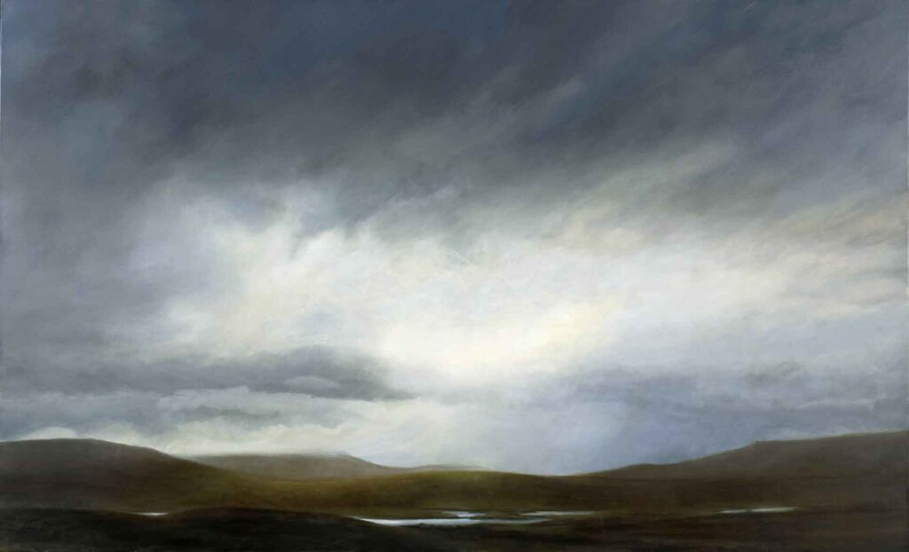 Shiny Pools on Rannoch Moor. Landscape Painting by Victoria Orr Ewing
