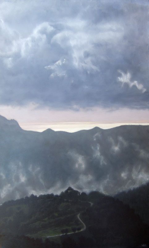 Shiny Sea and Loma del Moro. Light on Andalucia. Contemporary landscape painting by Victoria Orr Ewing