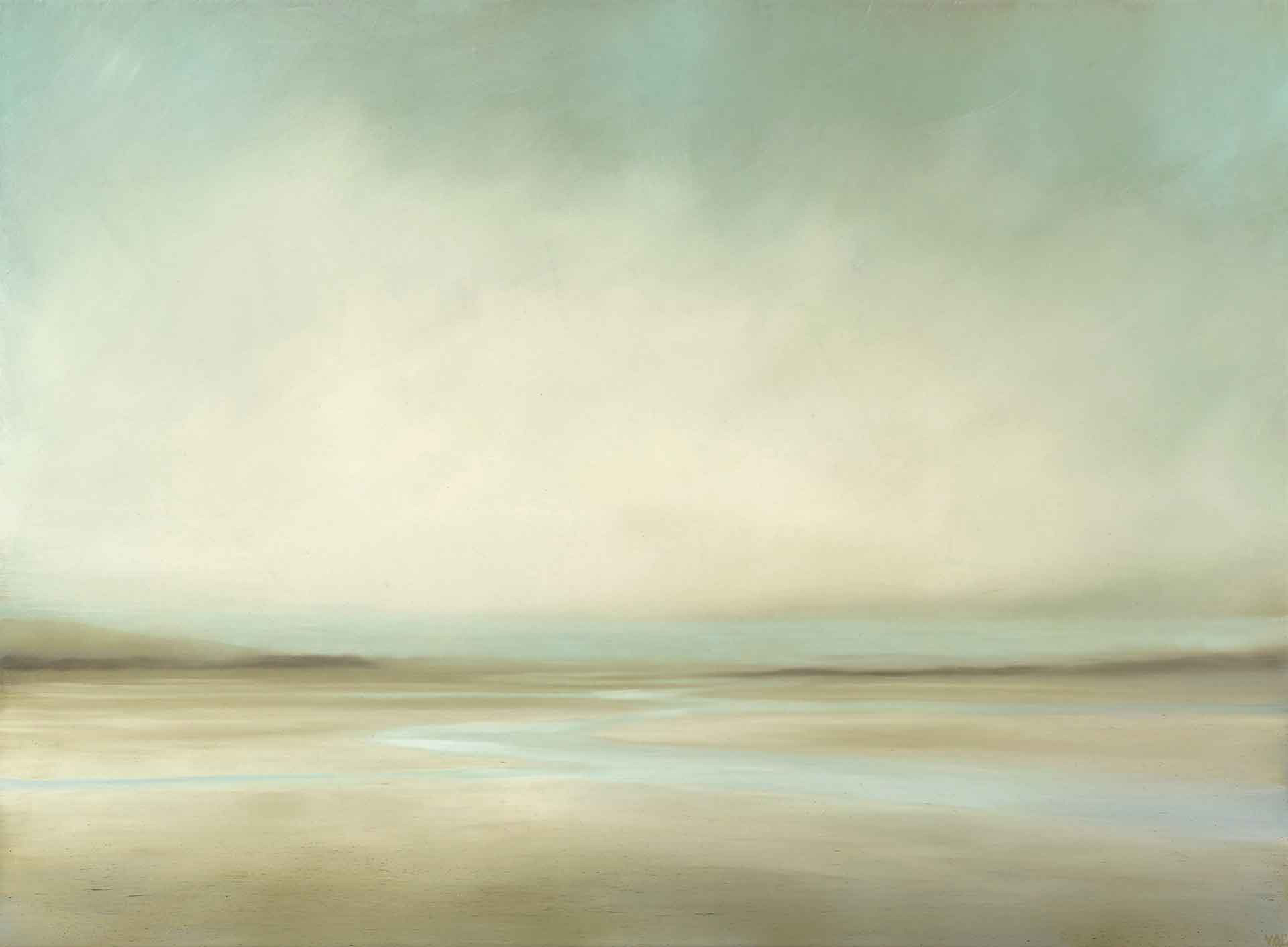 Sky, Sand and Water At Luskentyre on The Isle Of Harris In The Western Isles - Landscape Painting By Victoria Orr Ewing