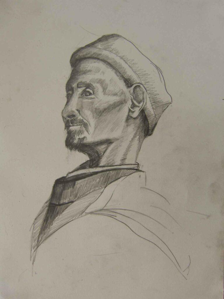 Spice Seller Of Marrakesh, Pencil Sketch By Victoria Orr Ewing