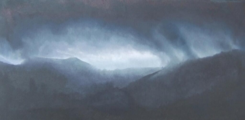 Storm clouds on Serenia Espartinas. Light on Andalucia.Contemporary landscape painting by Victoria Orr Ewing