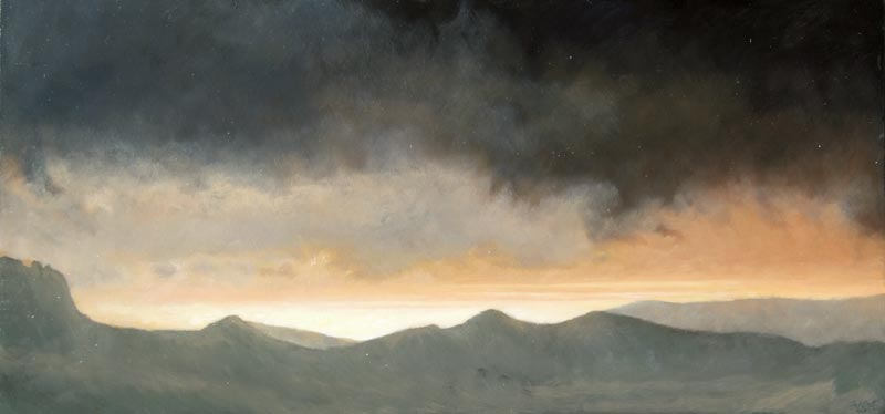 Stormy sunrise with a bright-sea. Oil on board. 59x28cm. SOLD