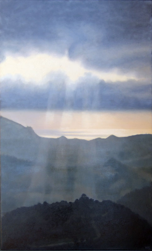 Sunrays touch Loma del Moro. Light on Andalucia.Contemporary landscape painting by Victoria Orr Ewing