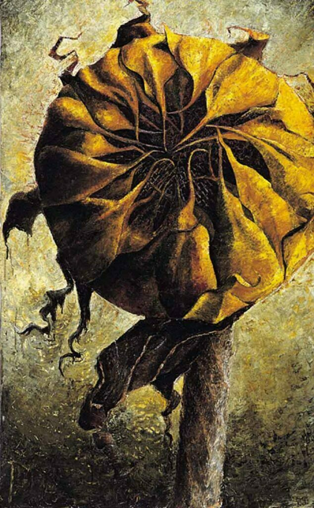 Closed Sunflower. Still Life Painting by Victoria Orr Ewing
