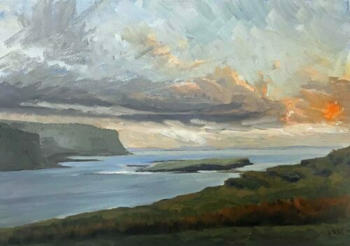 Plein Air Sketch Of Sunset From Achronich On Mull by Victoria Orr Ewing