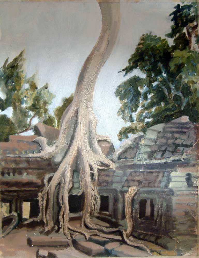 Sketch Of Ta Prohm In Angkor Wat
