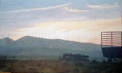 Tarifa Windmills Landscape Painting By Victoria Orr Ewing