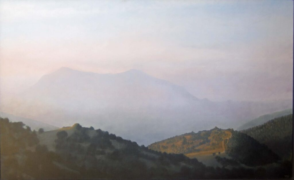 The Crestellena at Dawn. Contemporary landscape painting by Victoria Orr Ewing