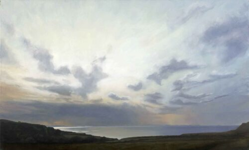 The Sea Shines Between Mull and Tiree. Landscape Painting by Victoria Orr Ewing