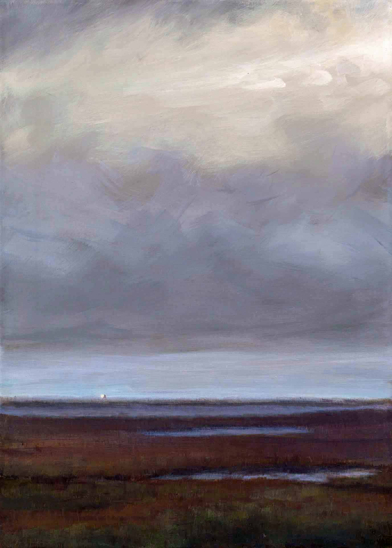 Twilight At Loch Bee on South Uist - Landscape Painting By Victoria Orr Ewing