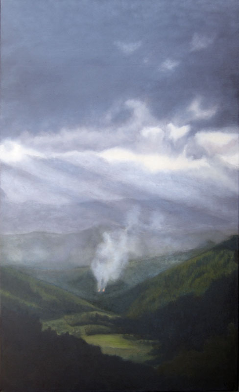 Two fires in the Valle de Genal. Contemporary landscape painting by Victoria Orr Ewing