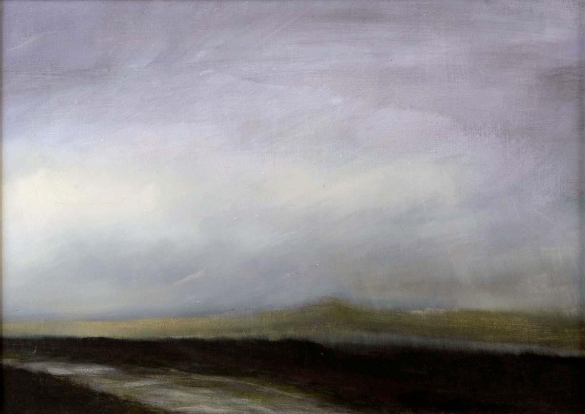 Wet Road, Dartmoor. Oil on board  20 x 15 cm SOLD