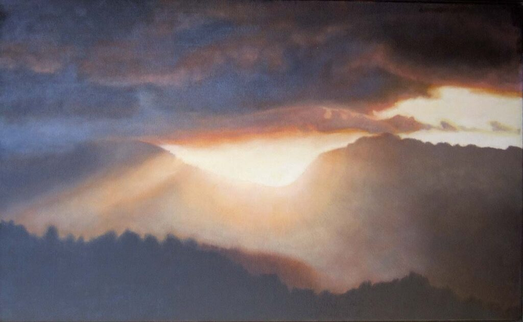 Winter Solstice sunrise. Contemporary landscape painting by Victoria Orr Ewing